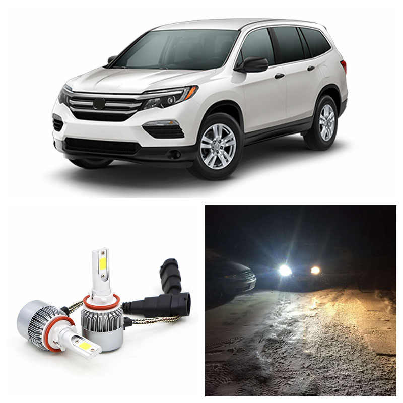 Edislight COB LED Headlight Kit Low Beam Bulbs For 2006-2016 Honda Pilot 72W 7600LM White Car Headlamp High Power Car Light
