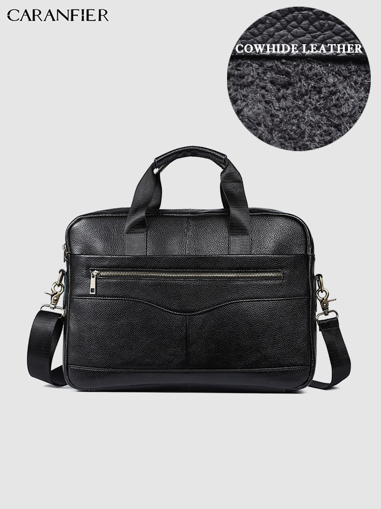 CARANFIER Mens Genuine Leather Briefcase Laptop Messenger Shoulder Bags Male Casual Quality Crazy Horse Vintage Crossbody Bags