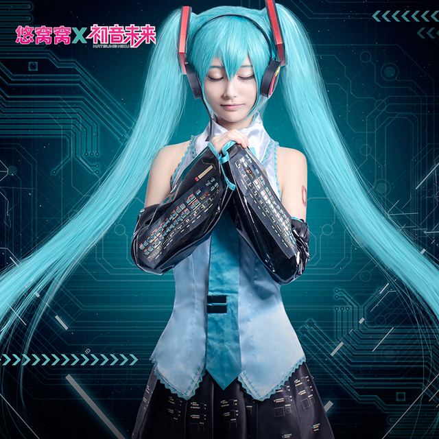 Hatsune Miku Cosplay VOCALOID Blue And Black Satin Uwowo Costume Full Set