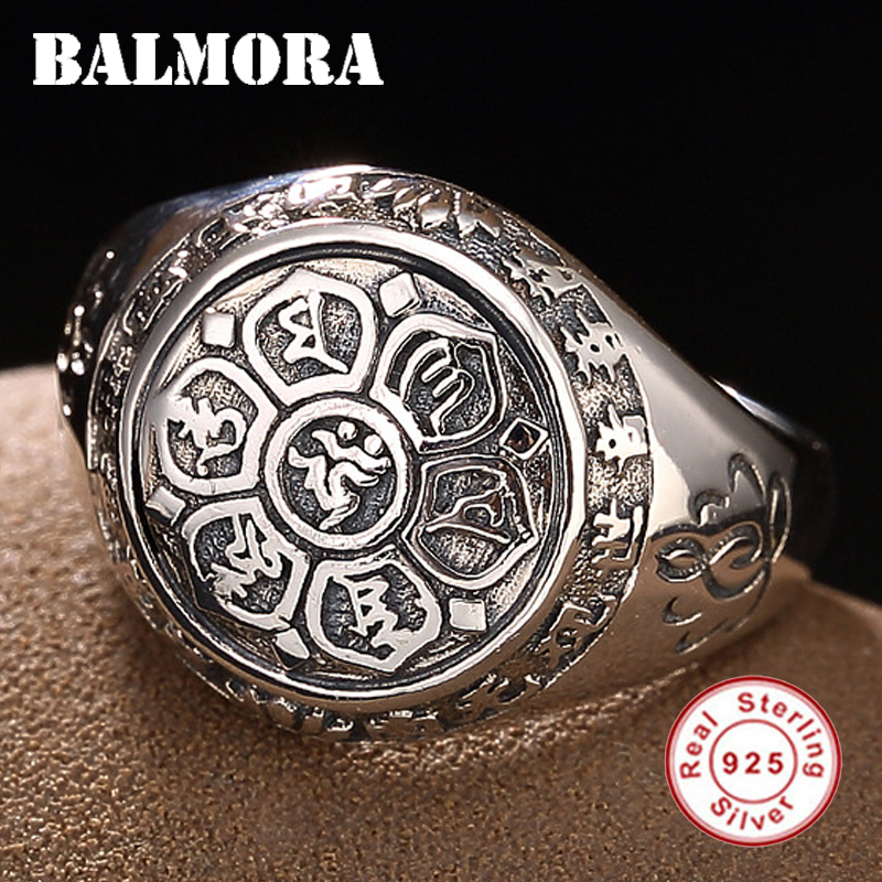 BALMORA Vintage 100% Real 925 Sterling Silver Jewelry Buddhistic Six Words Mantra Rings for Women Men Lovers Gifts SY20992BALMORA Vintage 100% Real 925 Sterling Silver Jewelry Buddhistic Six Words Mantra Rings for Women Men Lovers Gifts SY20992