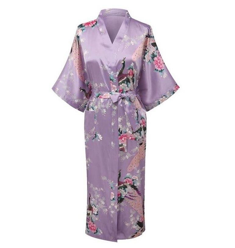 Светло-фиолетовый с цветочным принтом Для женщин халат платье Китайский традиционный халат пижамы Новинка Платье-кимоно размеры S M L XL XXL, XXXL...