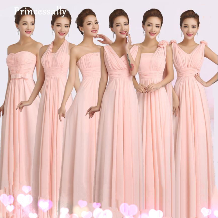Peachy Pink Bridesmaid Dress Long Chiffon Cheap Winter Wedding Party Prom Dresses Vestido De Festa De Casamento Dama De Honra