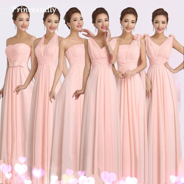 Peachy Pink Bridesmaid Dress Long Chiffon Cheap Winter Wedding Party Prom  Dresses Vestido De Festa De Casamento Dama De Honra a430a4cbe1c9