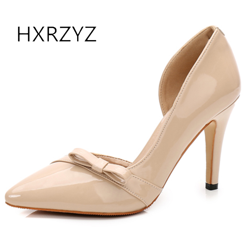 HXRZYZ high heels women black leather pointed toe shoes spring/autumn fashion shallow mouth ladies party dress shoes women pumps 2017 spring autumn shoes shallow mouth pointed toe fashion high heeled velvet thin heels pumps office party shoes