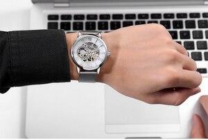 Image 4 - اوركينا ساعة اليد الذكور الهيكل العظمي الهاتفي الميكانيكية ساعة اليد الرياح الرجال ساعات المعصم شبكة من الاستانلس استيل باند هيرين Armbanduhr