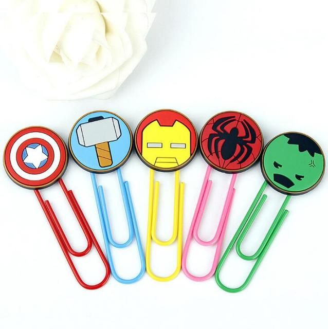Cute Super Hero Characters Paper Clip Bookmark Promotional Gift Stationery School Office Supply Escolar Papelaria