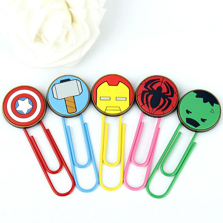 Cute Super Hero Marvel Characters Paper Clip Bookmark Promotional Gift Stationery School Office Supply Escolar Papelaria