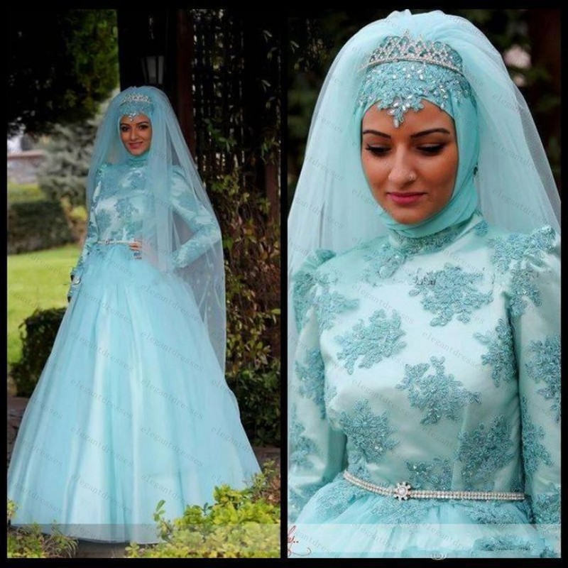 Blue Dresses with Hijab Muslim Wedding – fashion dresses