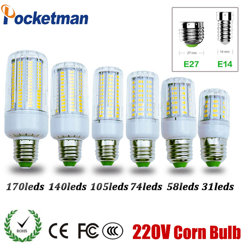 цены на SMD 5730 E27 E14 LED Lamp 5730SMD LED Lights Corn Led Bulb 31 58 74 105 140 170Leds Chandelier Candle Lighting Home Decoration