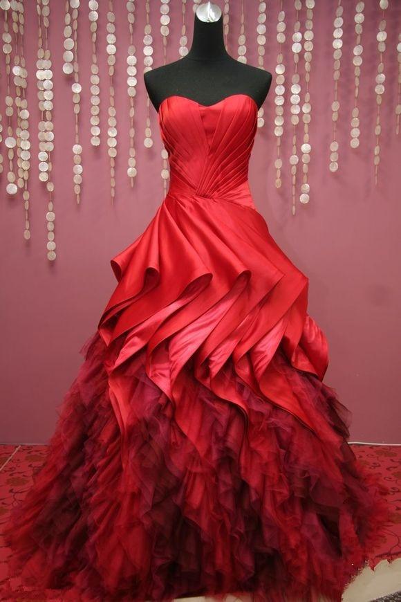 Vestidos Madres De La Novia Fashion Ball Gown Sweet Floor length Open back Fold Red Quinceanera Bridal gowns   bridesmaid     dresses