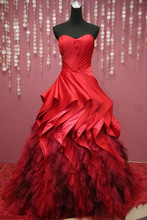 Fashion Ball Gown Sweetheart Floor length Open back Fold Red Quinceanera Dresses Bridal gowns