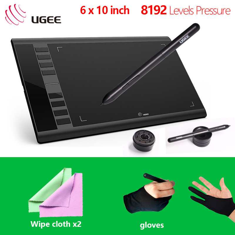 Ugee new M708 Digital Graphics Tablet 10x6''Painting Pad 8192 Level pressure sensitivity Graphic Tablet with Free black gloves