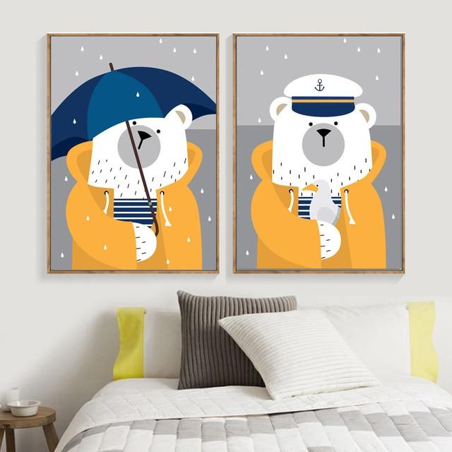 Navy Bear Rain Umbrella Nursery Art Prints  1