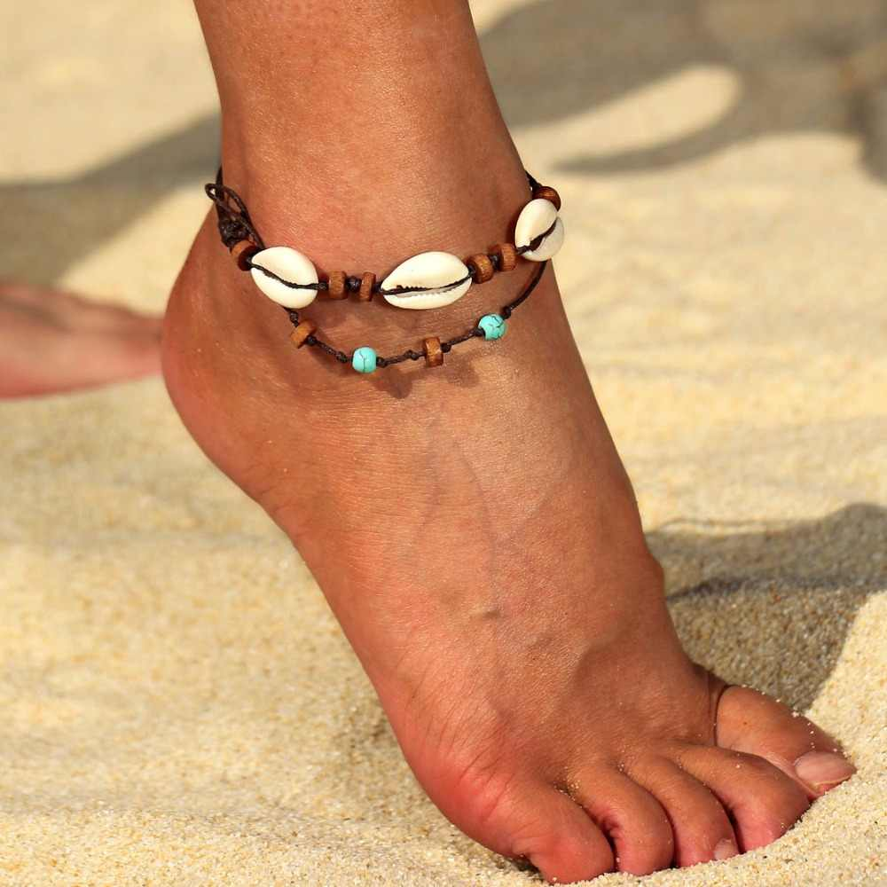 Hesiod Summer Beach Barefoot Sandals Anklets for Women Rope Multi-layer Seashell Anklet Wooden Beads Bracelets Ankle