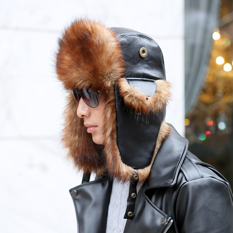 Pu-Hats Avaitor-Cap Faux-Fur Russian Winter Women for Bomber-Hat with Ear Outdoor Wind-Prevent