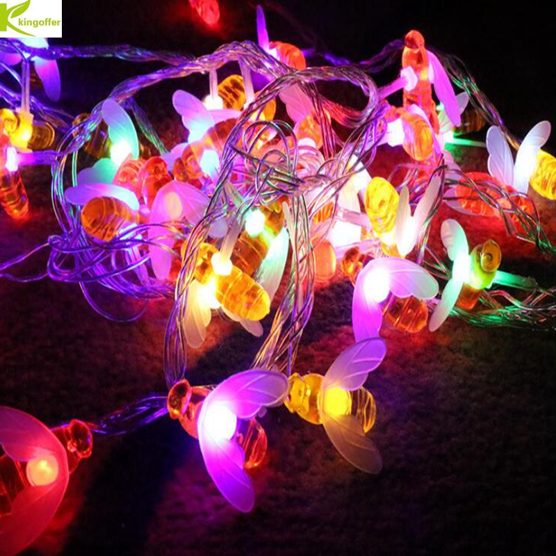 Colorful Honey Bee led String Fairy Lights Christmas Wedding Holiday Party Garden Home Decoration Lamp 110V 220V US/EU Plug