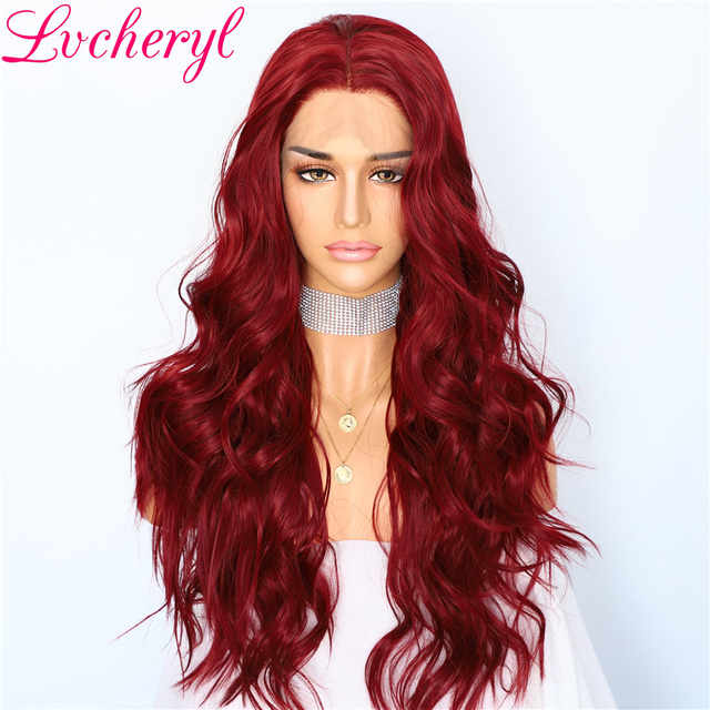 Lvcheryl Party Wigs Trendy Red Color Natural Wave Cosplay Hair Glueless Synthetic Lace Front Wigs for Women Makeup
