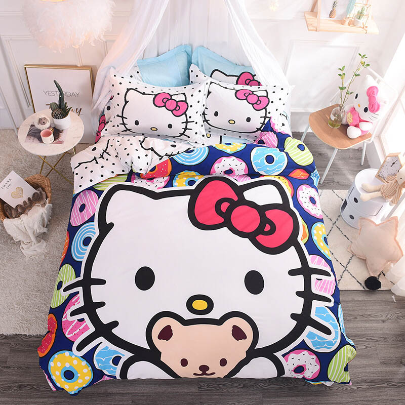 Cartoon 3D Doraemon Hello Kitty Cotton 3/4pcs Bedding Set Contain Duvet Cover Bed Sheet Pillowcase Kids Bed linen TJ-29