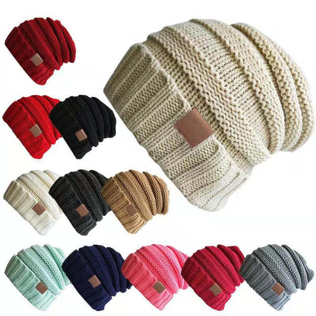 Invierno sombrero mujer sombrero de las mujeres de invierno de punto de  lana gorra de CC bdd8092f60d