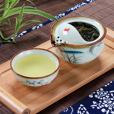 Permalink to Drinkware 1POT 1CUP Handpainted porcelain TeaPot Tea Cup Gaiwan Travel Tea Set kungfu teasets quik cup teacup ceramic tea pot