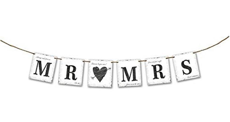 Mr and Mrs Wedding Photo Prop Decoration Bunting Banner In Black or Vintage