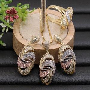 Image 1 - Lanyika תכשיטי סט גדול גיאומטריה חלול סגלגל מיקרו סלול שרשרת עם עגילים Rinfor יום נישואים אירוסין יוקרה מתנות
