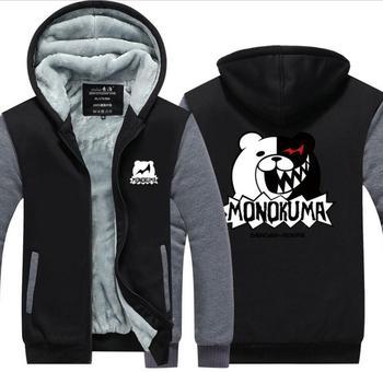 Dangan Ronpa Monobear Monokuma Black White Bear winter jacket thick fleece coat hoodie