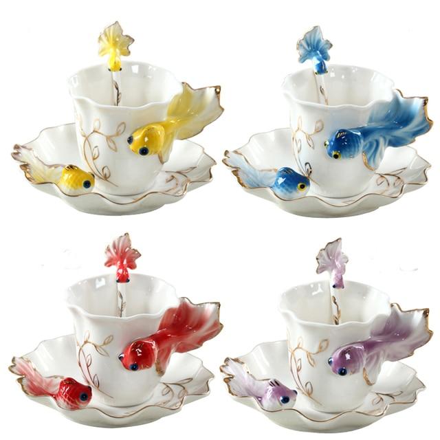 New creative carp sculpture Cups Saucers phnom penh enamel porcelain craft tea set quality coffee milk tea fish cup with Spoon