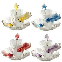 New creative carp sculpture Cups&Saucers phnom penh enamel porcelain craft tea set quality coffee/milk/tea fish cup with Spoon