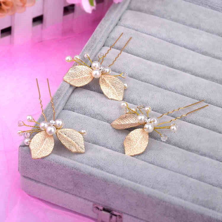 1Pcs Fashion Women Hair Sticks Wedding Bridal Pearl Leaf Rhinestone Crystal Pins Clips Bridesmaid