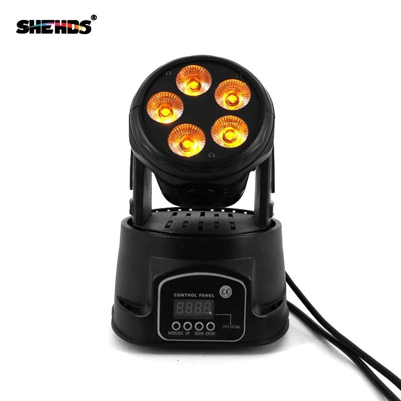 Free Shipping Mini LED Wash 5x18W 4in1 RGBWA+U 6in1 Moving Head Stage Lighting DMX512 Controller For Events Show DJs Band Lights