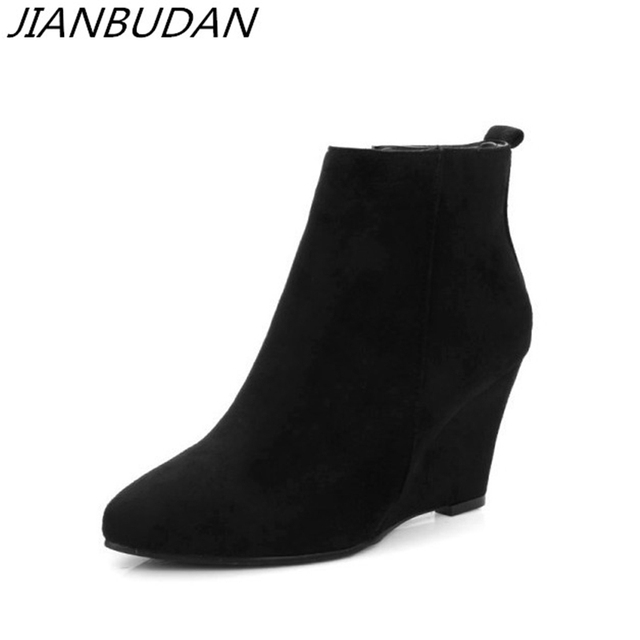 JIANBUDAN Artificial suede womens autumn casual boots 2020 New Flat heel wedge Concise bare boots Side zipper ankle boots 34 43