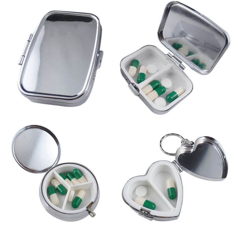 1PC Pillbox Medicine Container Key Chain Tablet Storage Case Round Rectangle Heart Medicine  Container For Pill Storage Holder