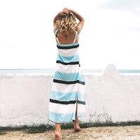 Summer Swimwear Women Beachdress Sexy Deep V Neck Stripe Back Beach Skirt Cover Up Sleeveless Long