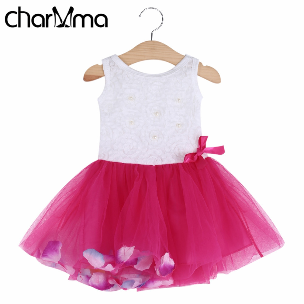 Summer Dress Cotton 2017 Baby Girls Clothing Petals Hem Tutu Party Baby Dresses Chiffon Girl Newborn Floral Princess Dresses