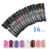 16 Colors Nail Art Pen Polish Painting Drawing UV Gel DIY Design Manicure Tools