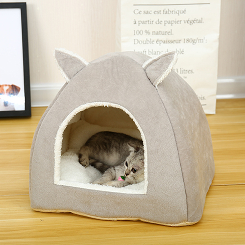 Dog House Beds For Small Dogs Warm All Seasons Cotton Warm Cute Pink Green Solid  Animal Ears Cat Soft House Pet Bed Dog Cage