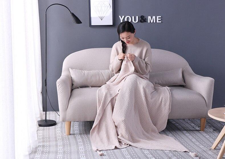 Mode décoratif Cape couverture décoration tapis jeter canapé glands tricoté couverture maison nordique bureau sieste couverture châle