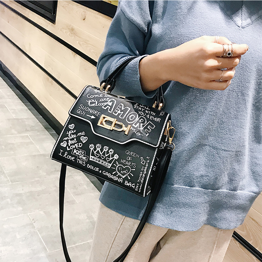 Designer Street Graffiti Handbag Women Bag PU Leather Small Flap Bag Luxury Shoulder Crossbody Bag For Women Clutch Purse 2019