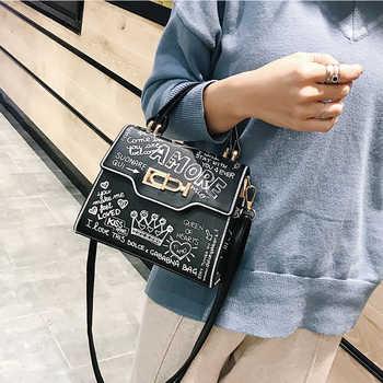 Designer Street Graffiti Handbag Women bag PU Leather Small Flap Bag Luxury Shoulder Crossbody Bag For Women Clutch Purse 2019 - Category 🛒 Luggage & Bags