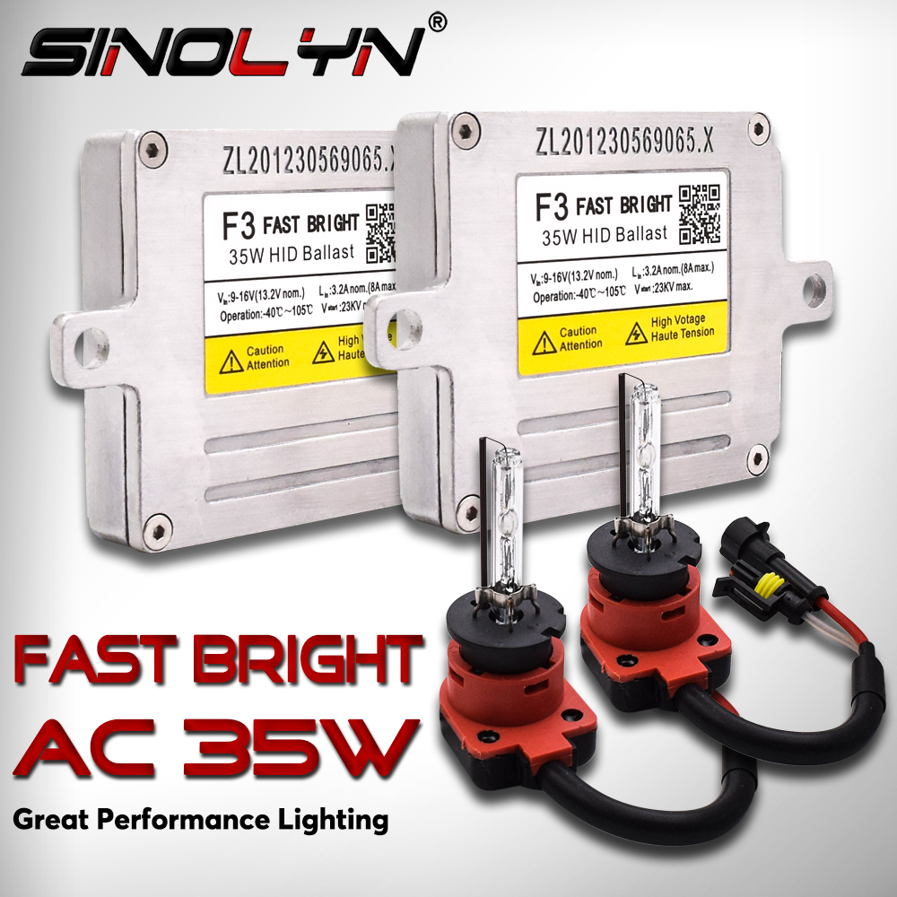 Sinolyn F3 Fast Bright Xenon Ignition Unit D2H D2S H7 H1 H11 H3 HB3 HB4 HID Conversion Kit Blocks Reactor 35W AC Ballast Bulbs
