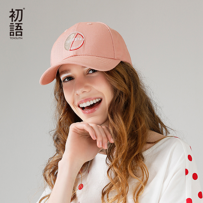 Toyouth Baseball Cap Women Casual Letter Embroidery All Match Adjustable Sun Hat Pink Color 1