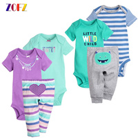 ZOFZ 2PCS Set Cute Baby Girls Clothes Sets Regular Cotton Letter T Shirt Jumpsuit Long Pants
