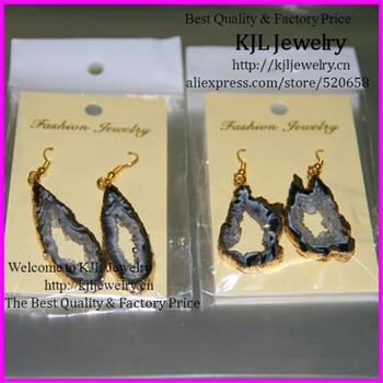 free ship of  5pairs Fashion Natural glass Stone earring Gold color Bezel Druzy drusy Slice charm Earrings