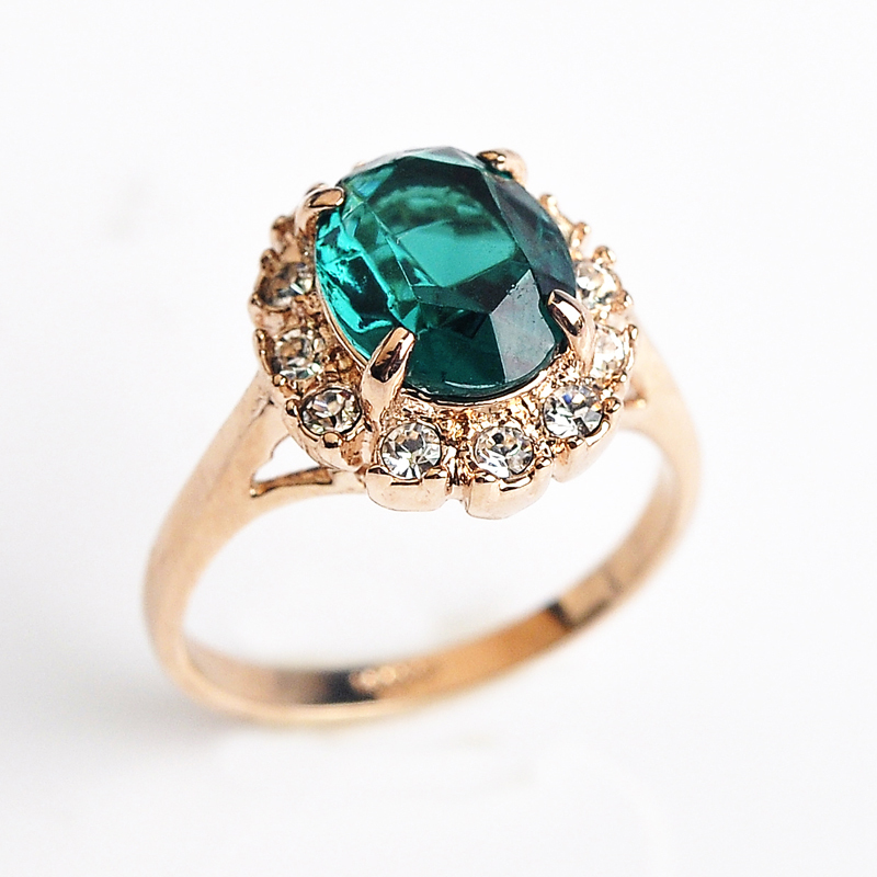 USTAR Created Emerald wedding Rings for women Zircon Jewelry Green Semi-precious stone Rose gold color rings female Anel gift