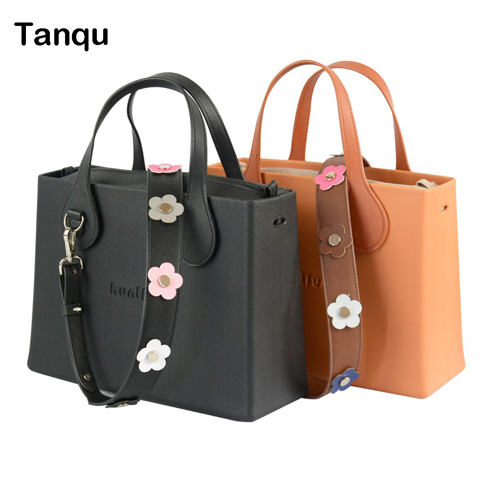Tanqu huntfun EVA square handbag with flat D buckle handle Rivet flower strap leather inner women