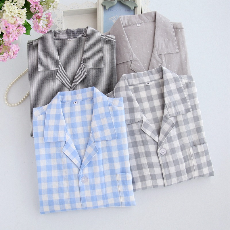 2019 Summer New Cotton Short-sleeved Men's Pajamas Set Striped Plaid Sleepwear Suit Homewear Set Men's Pajamas Size XXXL