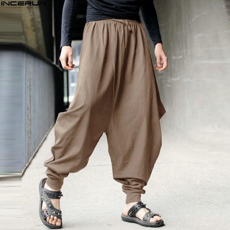 Men Women Japanese Samurai Style  Casual Low Drop Crotch Loose Fit Harem Baggy Hakama Capri Cropped Linen Pants Trousers 5XL