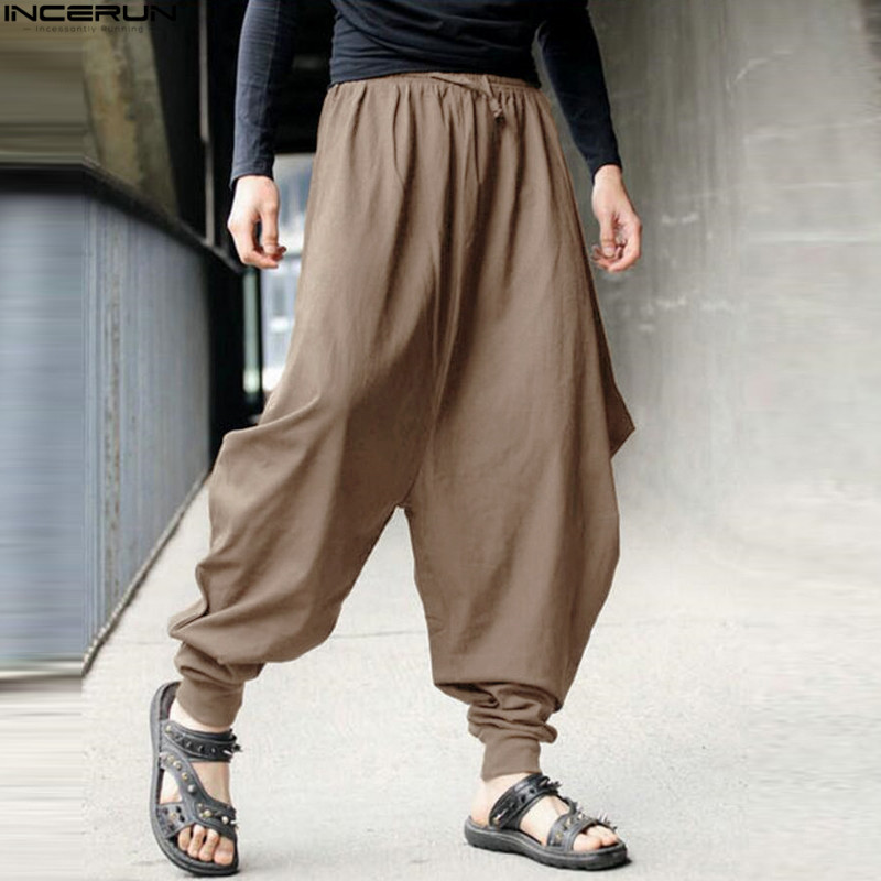 Men Women Japanese Samurai Style Casual Low Drop Crotch Loose Fit Harem Baggy Hakama Capri Cropped Linen Pants Trousers 5XL