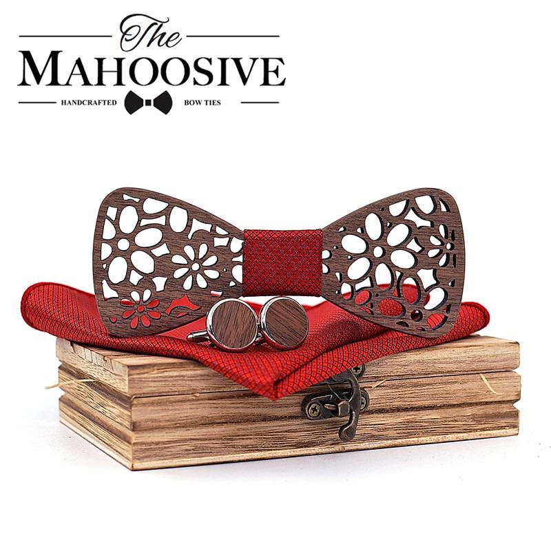 New 4 Pieces Wooden Tie Handkerchief Cufflinks Fashion Wood Bow Tie Wedding Dinne Handmade Corbata Wooden Ties Gravata Set